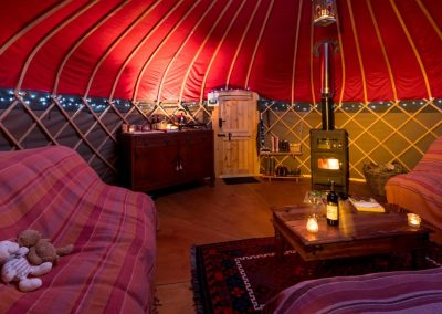 Inside one of our luxury yurts