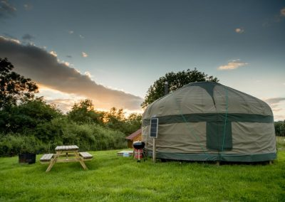 Yurt camping in the evening