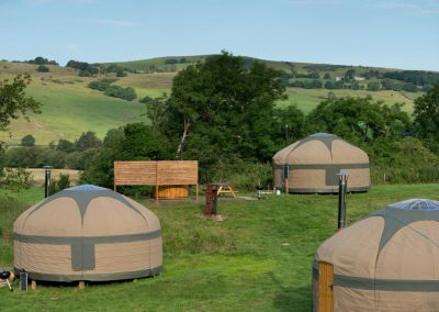 View of the campsite with Yurts